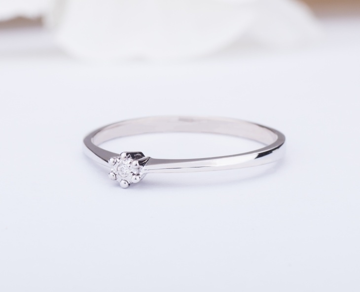 RING GOLD STAR Gold 18KT 750‰ Engagement Diamond Ring Solitaire ct0,01 GSEFX377