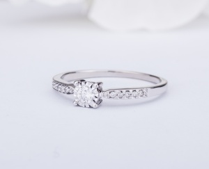 RING GOLD STAR Gold 18KT 750‰ Engagement Diamond Ring Solitaire  ct 0,15 ESFT253