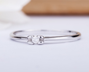 RING GOLD STAR Gold 18KT 750‰ Engagement Diamond Ring Solitaire ct. 0,025 AG0095BG