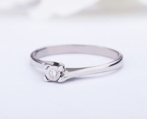 RING GOLD STAR Gold 18KT 750‰ Engagement Diamond Ring Solitaire ct0,01 GSEFX378