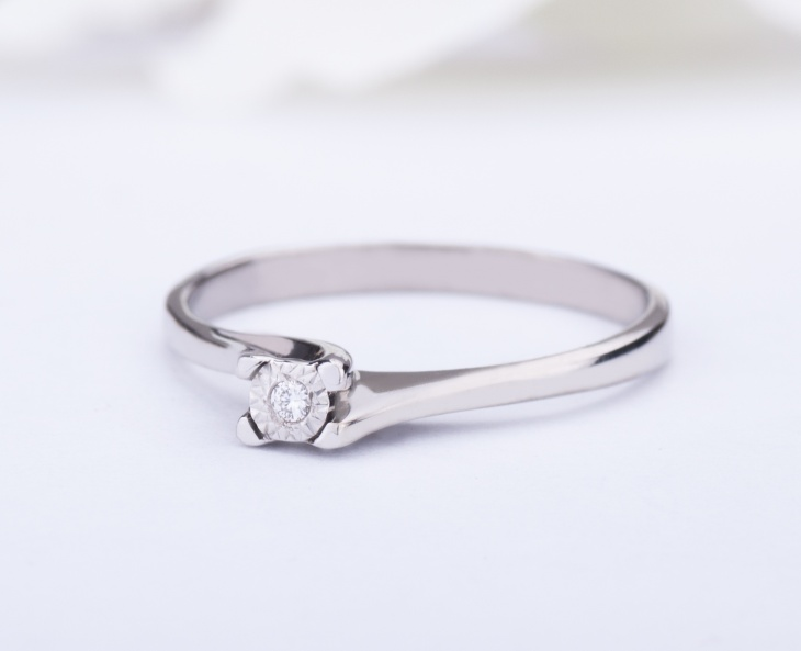 RING GOLD STAR Gold 9KT 375‰ Engagement Diamond Ring Solitaire ct 0,01 9-GSEFX378