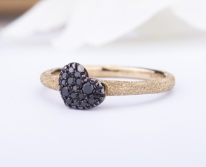 Heart RING Woman Gold 9KT 375‰ Engagement Black Diamonds Ring ct0,14 9-GSEFT114Y-NG