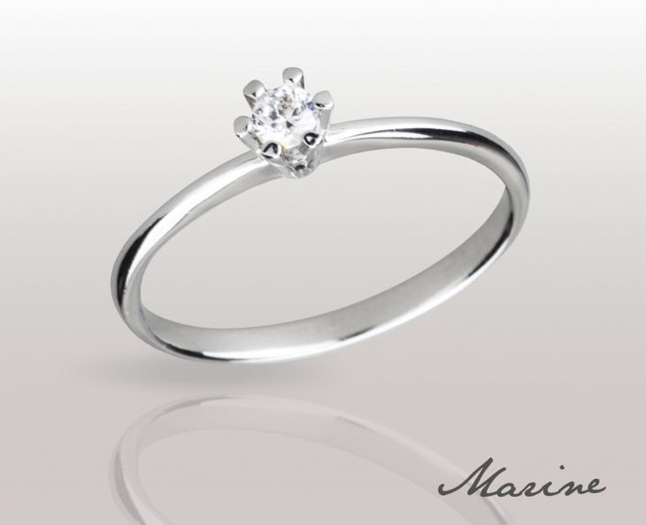 Woman RING MARINE Solid Silver 925 Zircon Ring Solitarie Incision 74010279/13