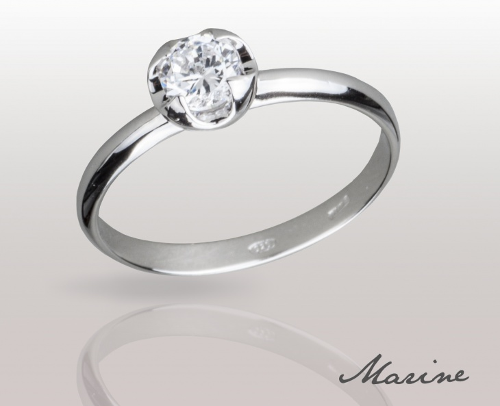 Woman Ring Marine Solid Silver 925 Zircon Ring Solitarie Incision 74010276/30