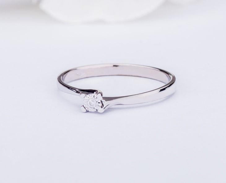 Solitarie Ring GOLD STAR Gold 18KT 750‰ Engagement Diamond ct0,02 GSEFX356