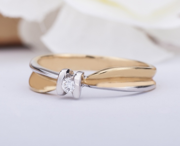 Ring Gold 18KT 750‰ Engagement Diamonds Ring ct0,06 AG0021BG