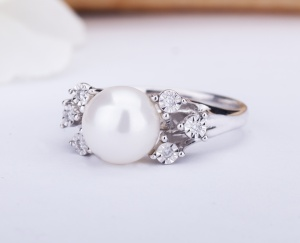 RING Gold 9KT 375‰ Engagement Diamond Ring Fantasy Natural Pearl ct 0,04 9-GSEFX226