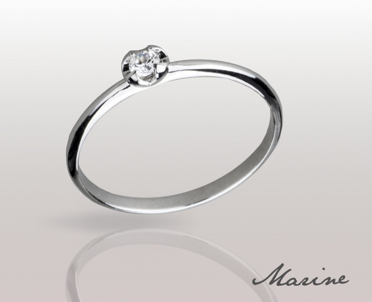 Woman Ring Marine Solid Silver 925 Zircon Ring Solitarie Incision 74010276/05