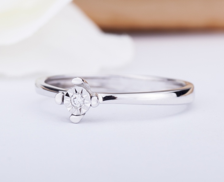 RING Gold 9KT 375‰ Engagement Diamond Ring Solitaire ct0,018 AO4A-O1R15