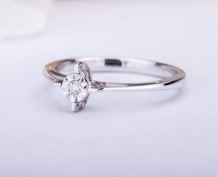 RING Gold 9KT 375‰ Engagement Diamonds Ring ct0,02 9-GSEFX206