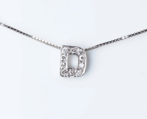 Woman Collier Necklace Letter D Name White Gold 18KT Tit.750‰ Diamonds GG0067BG