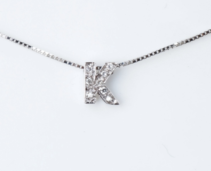 Woman Collier Necklace Letter K Name White Gold 18KT Tit.750‰ Diamonds GG0066