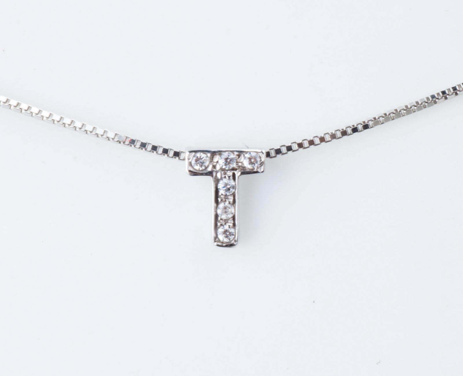 più recente 1d2f5 a6960 Collier Collana Donna Iniziale Lettera T Nome Oro 18KT Tit.750‰ Diamanti  GG0072BG