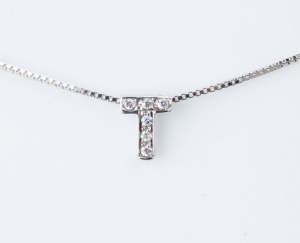 "Woman Collier Necklace Letter ""T"" Name White Gold 18KT Tit.750‰ Diamonds GG0072BG"