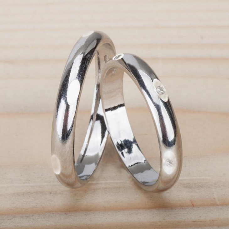 Couple 2 Silver 925‰ Engagement Rings Incision AN0065AG