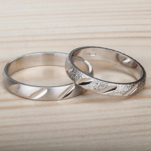 Couple 2 Silver 925‰ Engagement Rings Incision AN0067AG