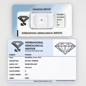 DIAMANTE CERTIFICATO CERTIFIED DIAMOND  IGI 0,09KT F6E99856