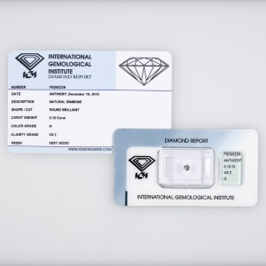 DIAMANTE CERTIFICATO CERTIFIED DIAMOND IGI 0,13KT F6D95239