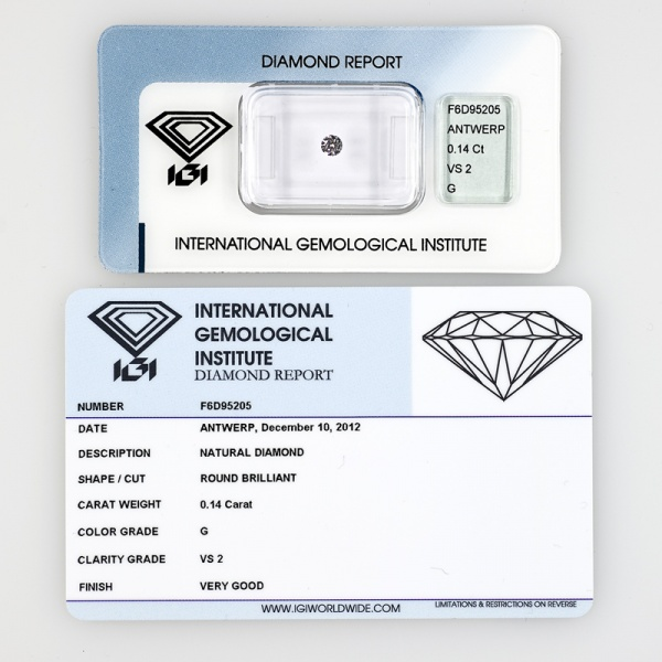 DIAMANTE CERTIFICATO CERTIFIED DIAMOND  IGI 0,14KT F6D95205