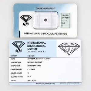 DIAMANTE CERTIFICATO  CERTIFIED DIAMOND IGI 0,15KT F6D95193