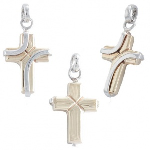 Pendant White Yellow Gold 375‰ 9KT Cross CO0010AU